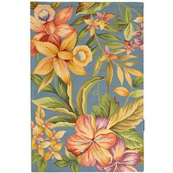 Safavieh Hand-hooked Paradise Blue Wool Rug (3'9 x 5'9) - Thumbnail 0