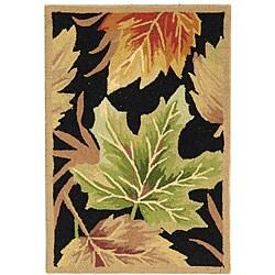 Safavieh Hand-hooked Foliage Black Wool Rug (1'8 x 2'6)