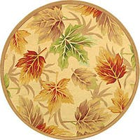 Safavieh Hand-hooked Foliage Ivory Wool Rug - 8' x 8' Round