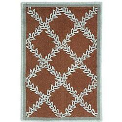 Safavieh Hand-hooked Trellis Brown/ Turquoise Blue Wool Rug (1'8 x 2'6)