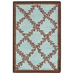 Safavieh Hand-hooked Trellis Turquoise Blue/ Brown Wool Rug (1'8 x 2'6)