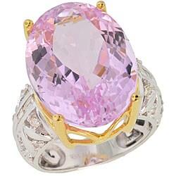 Michael Valitutti 18k Gold Kunzite/ 3/8 TDW Diamond Ring (G-H, VS-SI)