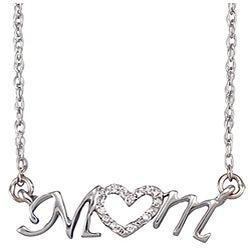 Unending Love Sterling Silver Diamond 'Mom' Necklace