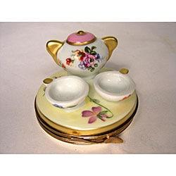 shop limoges hand painted 39 tea time 39 keepsake box free. Black Bedroom Furniture Sets. Home Design Ideas
