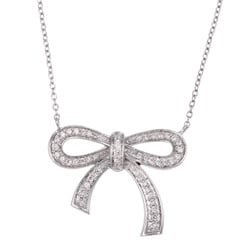 10k White Gold 1/4ct TDW Diamond Bow Necklace (G, I2)