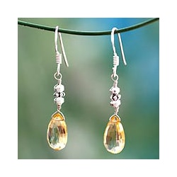 Handmade Sterling Silver 'Honey Drops' Citrine Earrings (India)