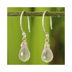 Rose Quartz 'Dewdrops' Earrings (Thailand)
