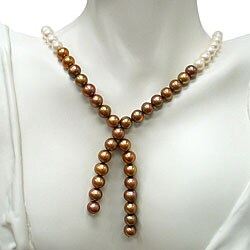 DaVonna Freshwater White and Brown Pearl Necklace (9-10 mm)