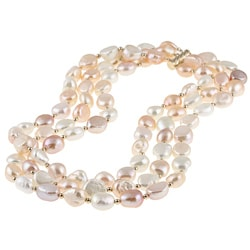 DaVonna 14k Gold Freshwater Pearl Multi-colored Bead Necklace (11-12 mm)