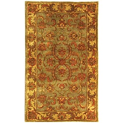 Safavieh Handmade Heritage Timeless Traditional Green/ Gold Wool Runner (2'3 x 4')