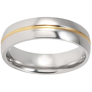 Men's Titanium Goldplated Grooved Polished Ring (6 Mm)