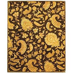 Safavieh Handmade Classic Paisley Brown Wool Rug - 9'6 x 13'6 - Thumbnail 0