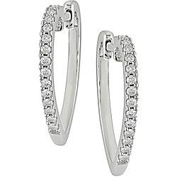 Silver 1/4ct TDW Diamond Heart Hoop Earrings (J-K, I3)