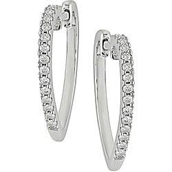 Silver 1/4ct TDW Diamond Heart Hoop Earrings