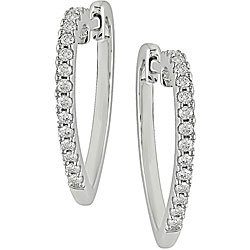 Silver 1/4ct TDW Diamond Heart Hoop Earrings
