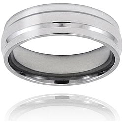 West Coast Jewelry Men's Titanium Raised Center Polished Ring (7 mm)