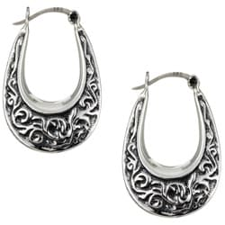 Sterling Essentials Sterling Silver Antique Finish Oval Hoop Earrings