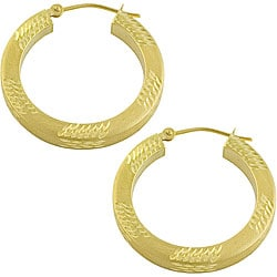 14k Yellow Gold 26mm Matte Finish Hoop Earrings