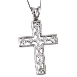 Kabella 18k White Gold 1 1/5ct TDW Diamond Cross Necklace (I-J, SI)