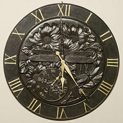 Cast Resin Outdoor Wall Clock/ Thermometer