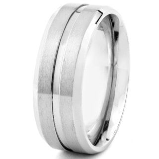 Men's Titanium Satin Finish Grooved Ring (7 mm) - Silver