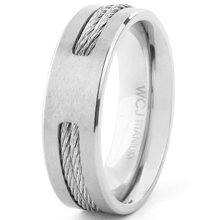 Men's Dual Finish Titanium Rope Inlay Beveled Comfort Fit Ring - 7mm Wide - Silver