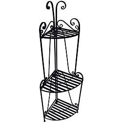Folding Corner Black Three-shelf Baker's Rack