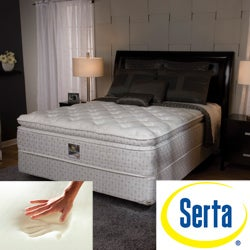 serta delphina pillow top queen size mattress and box spring set free shipping today. Black Bedroom Furniture Sets. Home Design Ideas