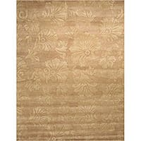 Beige Damask Wool Rug