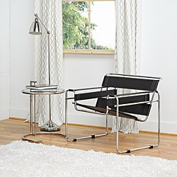 Marcel Brown Leather Accent Chair - Black - Thumbnail 0