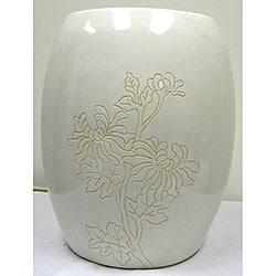 Floral White Ceramic Garden Stool - Thumbnail 0