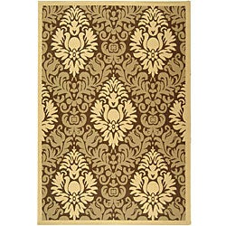 Safavieh St. Barts Damask Brown/ Natural Indoor/ Outdoor Rug - 7'10' x 11' - Thumbnail 0