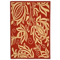 Safavieh Andros Red/ Natural Indoor/ Outdoor Rug (4' x 5'7) - 4' x 5'7