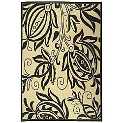 Safavieh Andros Sand/ Black Indoor/ Outdoor Rug (5'3 x 7'7)