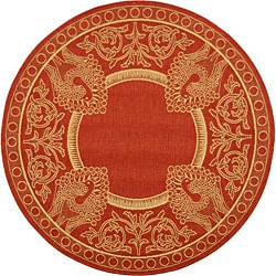 Safavieh Indoor/ Outdoor Abaco Red/ Natural Rug (5'3 Round)