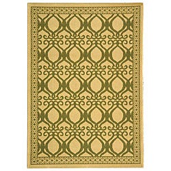 Safavieh Tropics Natural/ Olive Green Indoor/ Outdoor Rug (4' x 5'7)