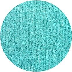 Bright Blue Fleece Shag Rug (5' Round) - Thumbnail 0