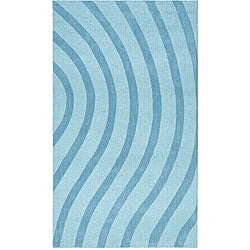 Thumbnail 1, Blue Waves Wool Rug - 5' x 8'.