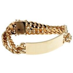 Caribe 14k Gold over Silver 8-inch 2-strand Cuban Link ID Bracelet