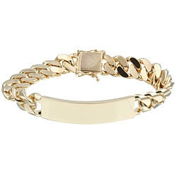 14k Gold over Silver Cuban-link ID Bracelet