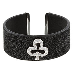 Sterling Essentials Sterling Silver CZ Clubs Suit Textured Leather Cuff