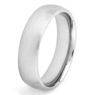 crucible mens titanium domed brushed comfort fit band 6 - Wedding Ring Mens