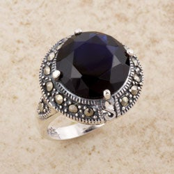 Handmade Sterling Silver Purple CZ and Marcasite Ring (Thailand)