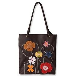 Wildflowers Handmade Handstitched Artisan Designer Black Yellow Blue Red Applique Cotton Fine Leather Shoulderbag Handbag (Peru)