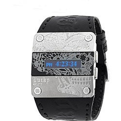 Thumbnail 1, Lucky Brand Men's Black Leather Watch.