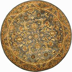 Safavieh Handmade Exquisite Blue/ Gold Wool Rug (3'6 Round)