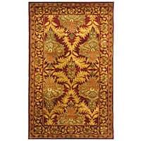 Safavieh Handmade Kerman Wine/ Gold Wool Rug - 3' x 5'