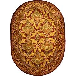 Safavieh Handmade Kerman Wine/ Gold Wool Rug (4'6 x 6'6)