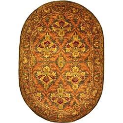 "Safavieh Handmade Kerman Sage/ Gold Wool Rug - 4'6"" x 6'6"" oval - Thumbnail 0"