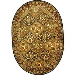 Safavieh Handmade Tabriz Olive Wool Rug (7'6 x 9'6 Oval)